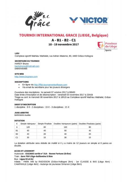 Tournoi International Nov 2017 GRACE A B1 B2 C1